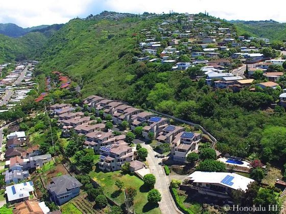 Kahala Pacifica Homes Surrounded by Waialae Nui Homes - Drone Photo