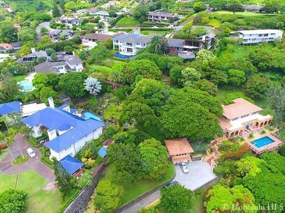 Manoa Luxury Homes on Judd Hillside Road - Drone Photo