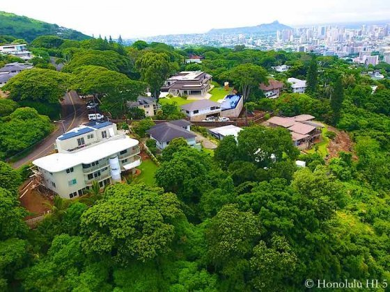 Makiki Heights Homes With Diamond Head in Distance - Drone Photo
