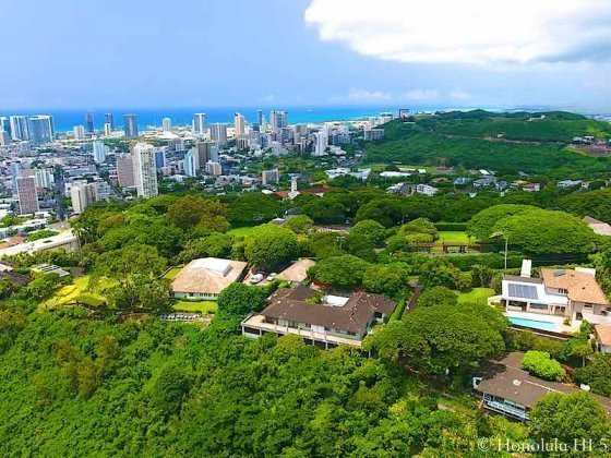 Makiki Heights Homes with Kakaako and Punchbowl in Background - Drone Photo
