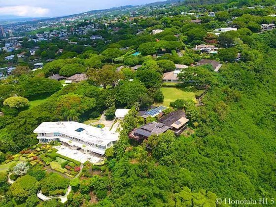 Makiki Heights Luxury Home Surrounded By Other Homes - Drone Photo
