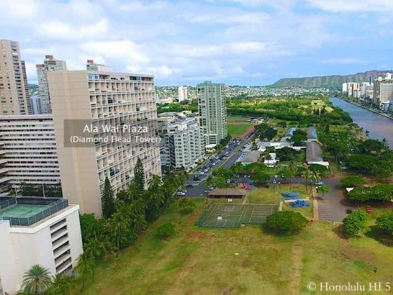 Ala Wai Plaza Diamond Head Tower - Drone Photo