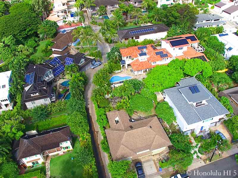 Alapali Place Houses in Diamond Head - Drone Photo