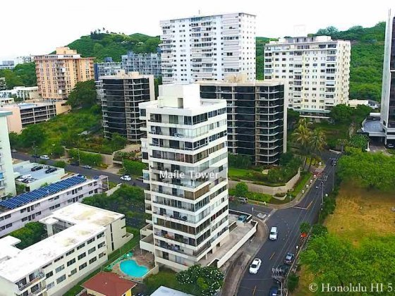 Maile Tower Condo in Honolulu - Drone Photo