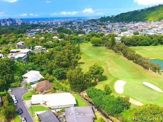 Nuuanu Golf Course Homes with Ocean in Distance - Drone Photo