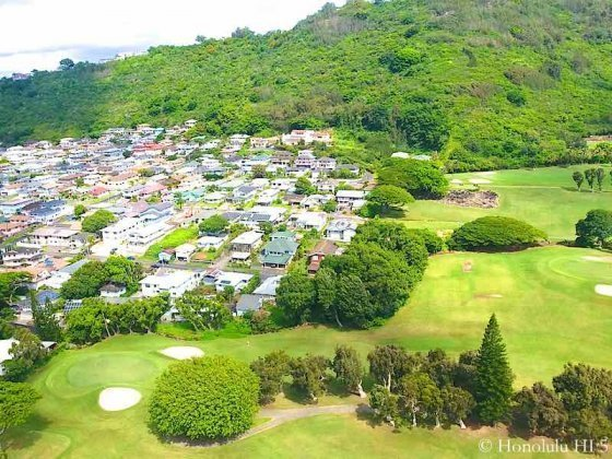 Nuuanu Homes - Some on Golf Course and Other Houses by Ridge. Drone Photo.