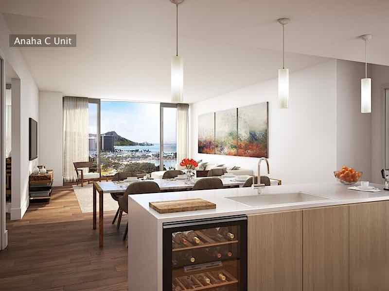 Rendering of Anaha C Unit Kitchen, Dining and Living Room