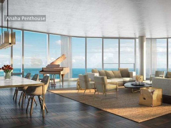 Anaha in Ward Village Grand Penthouse Living Room Rendering