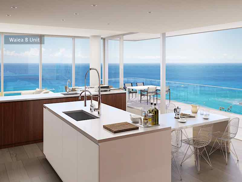 Waiea B Unit Kitchen and Ocean View Rendering