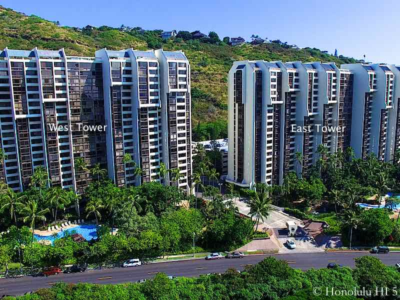Mauna Luan East and West Tower Highlighted - Drone Photo