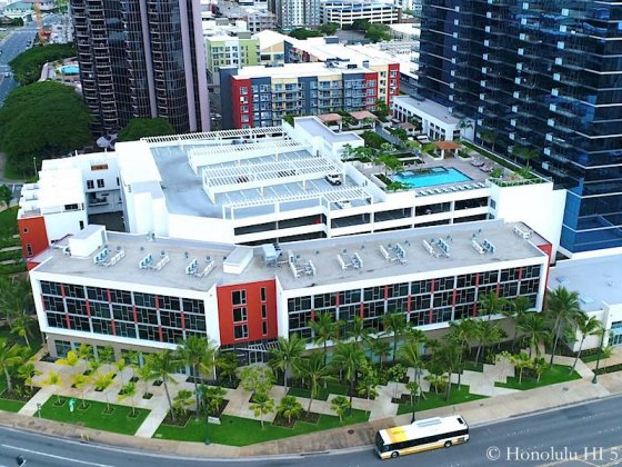 Collection Honolulu Flats, Parking Structure and Amenities Deck - Drone Photo