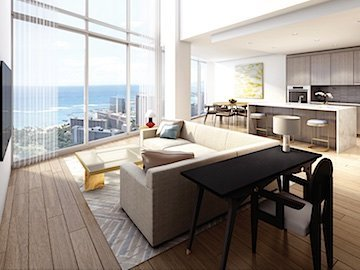 Ritz-Carlton Waikiki Penthouse Living and Kitchen Rendering