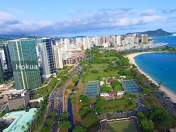 Hokua Condo Drone Photo with Ala Moana Beach Park