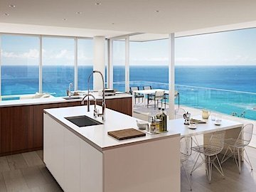 Honolulu Luxury Condo Kitchen, Balcony and Ocean Views