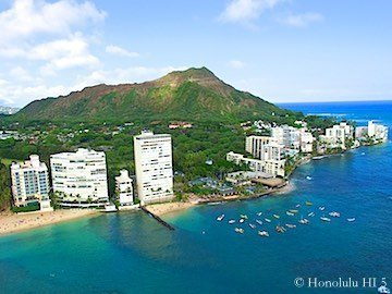 Diamond Head Oceanfront Oahu Condos - Drone Photo