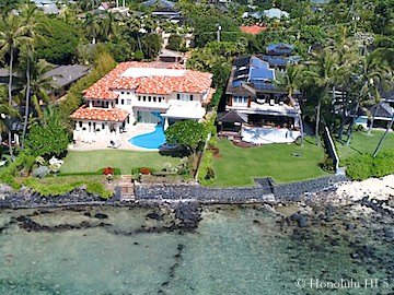 Two Honolulu Oceanfront Luxury Homes on Royal Place - Drone Photo