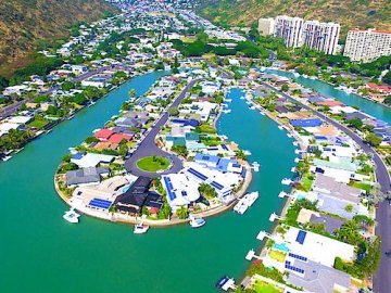 Hawaii Kai Marina Front Homes - Drone Photo