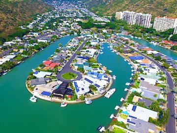 Marina Front Homes in Hawaii Kai - Drone Photo