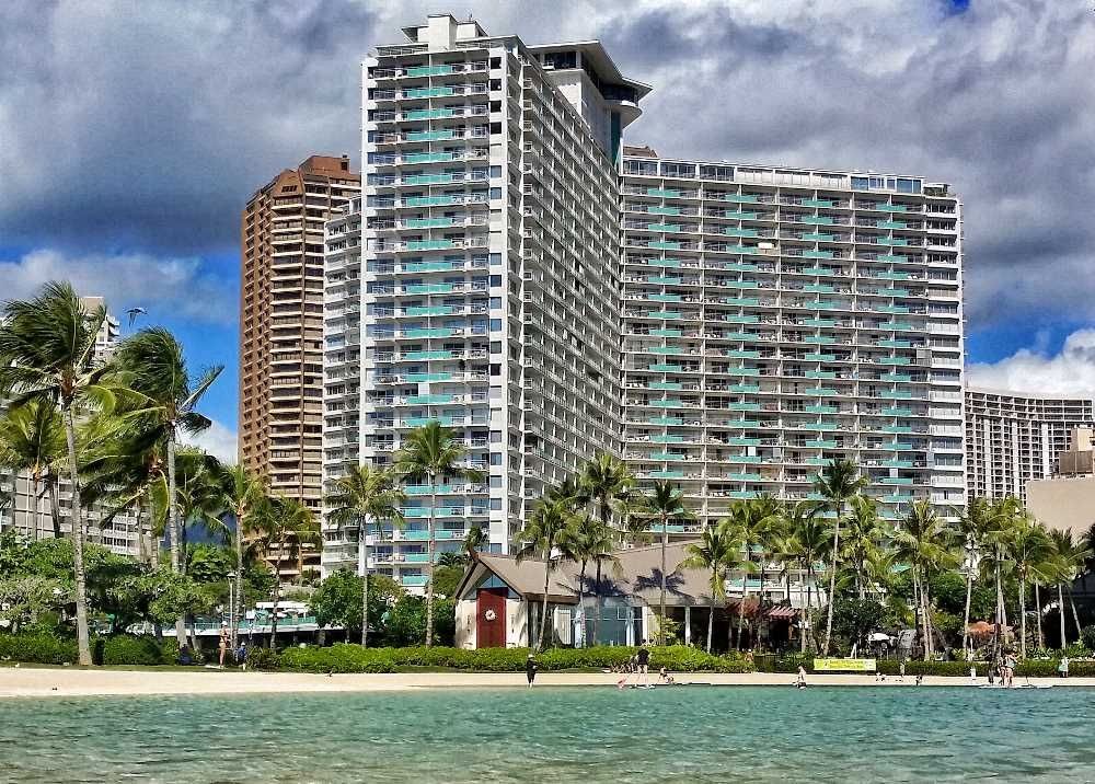 Ilikai Seen From Across Hilton Hawaiian Village Lagoon