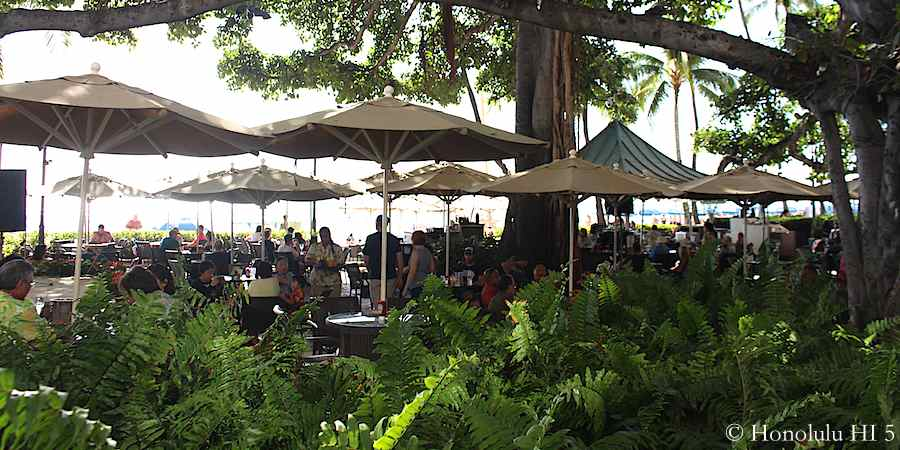 Beach Bar at Moana Surfrider Hotel right on Waikiki Beach. Great place for an afternoon Plantation Ice Tea.