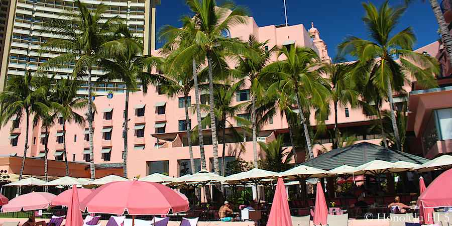 "The Royal Hawaiian Hotel, also known as ""The Pink Hotel"" - built 1927 - sits right on Waikiki Beach."