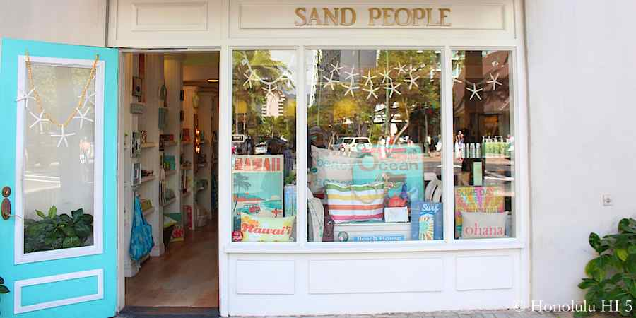 Sand People - charming shop by Moana Surfrider, selling various cute beach items.