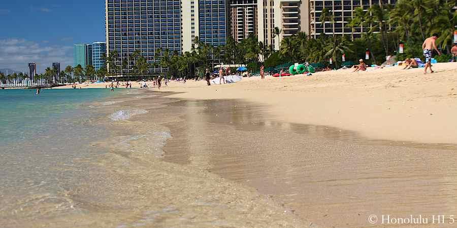 Waikiki Beach in front of Fort Derussy Park.