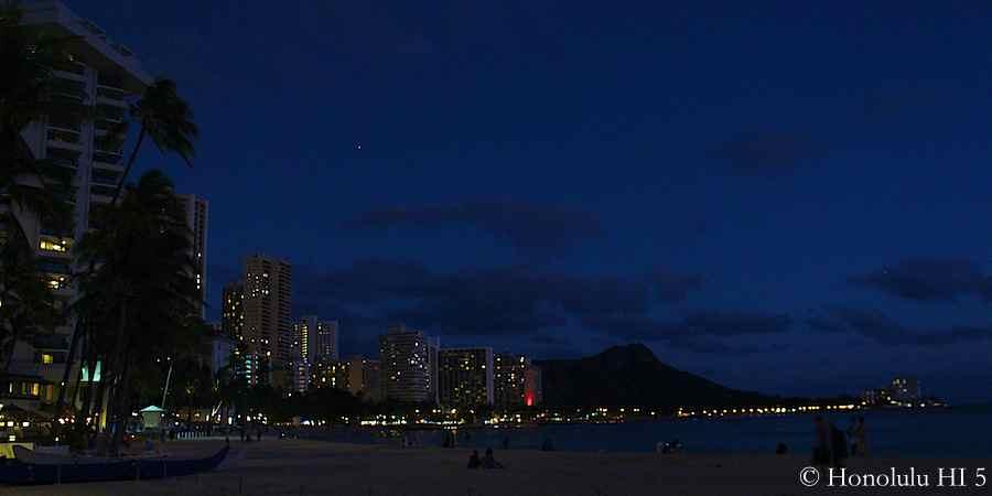 7.03pm: Waikiki evening skyline with Diamond Head in the background.