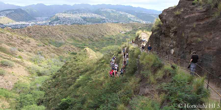Climbing towards the top of Diamond Head Crater