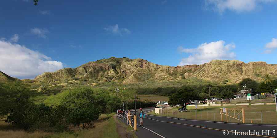 Walking towards Diamond Head Crater.