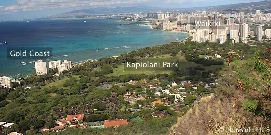 View from the top of Diamond Head Crater.