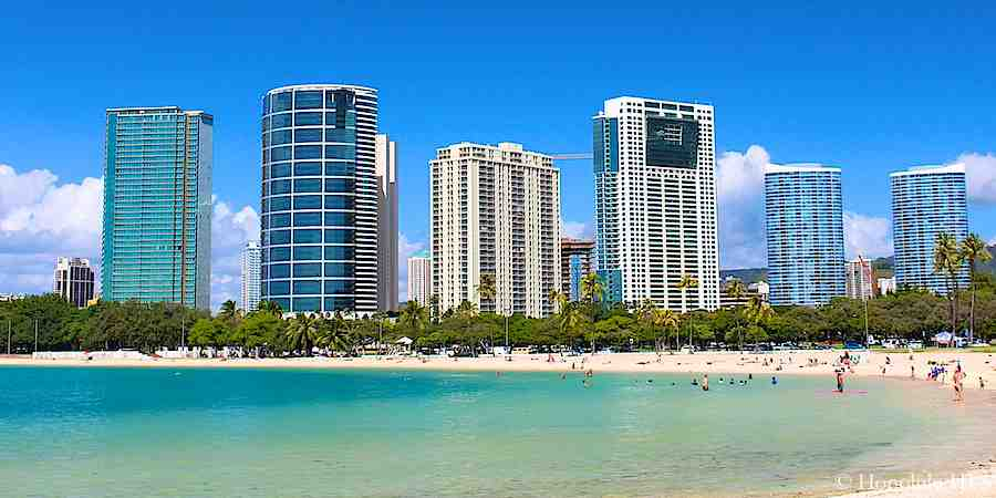 Kakaako Condos Seen From Ala Moana Beach Park