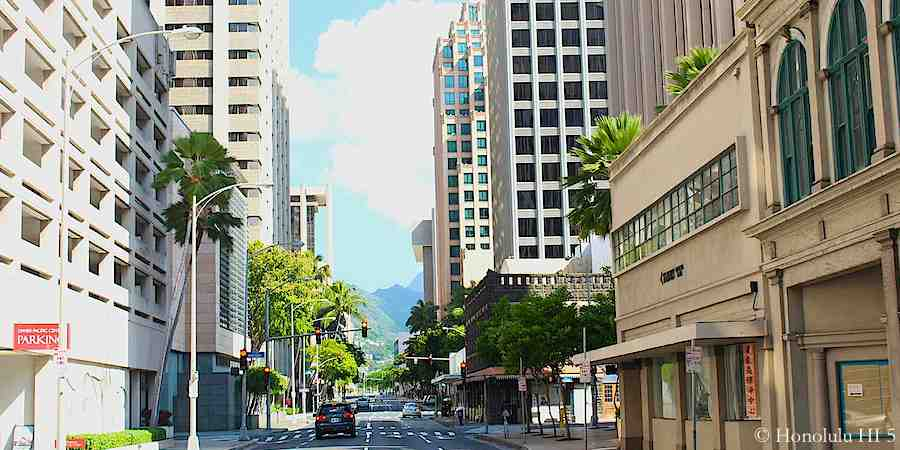 A Street in Downtown Honolulu