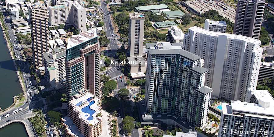 Kalakauan Condo in Waikiki - Aerial Photo