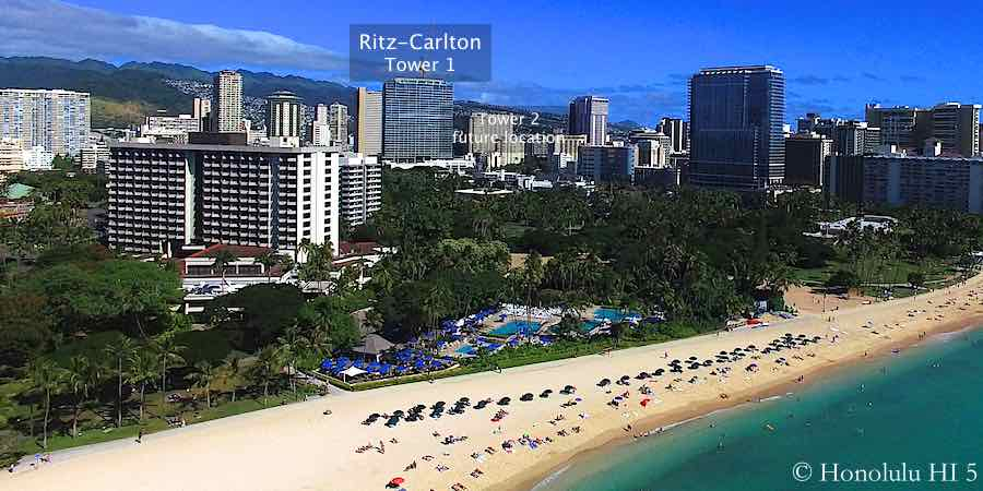 Ritz-Carlton Waikiki Seen From The Air at Waikiki Beach