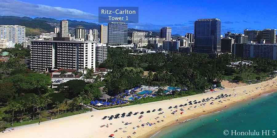 Ritz-Carlton Waikiki Seen From The Air at Waikiki Beach