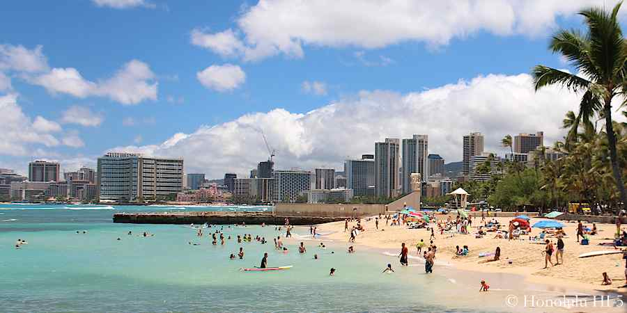 Kaimana Beach by Diamond Head's Gold Coast - also called Sans Souci Beach