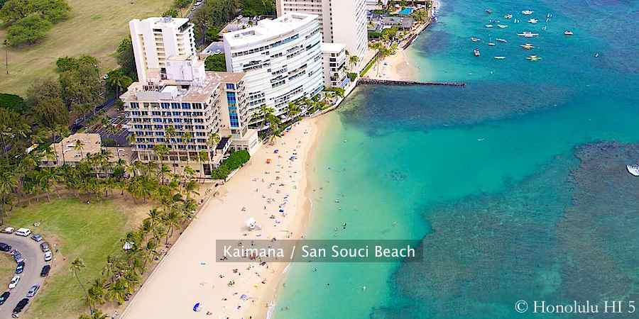 Aerial photo of Kaimana Beach