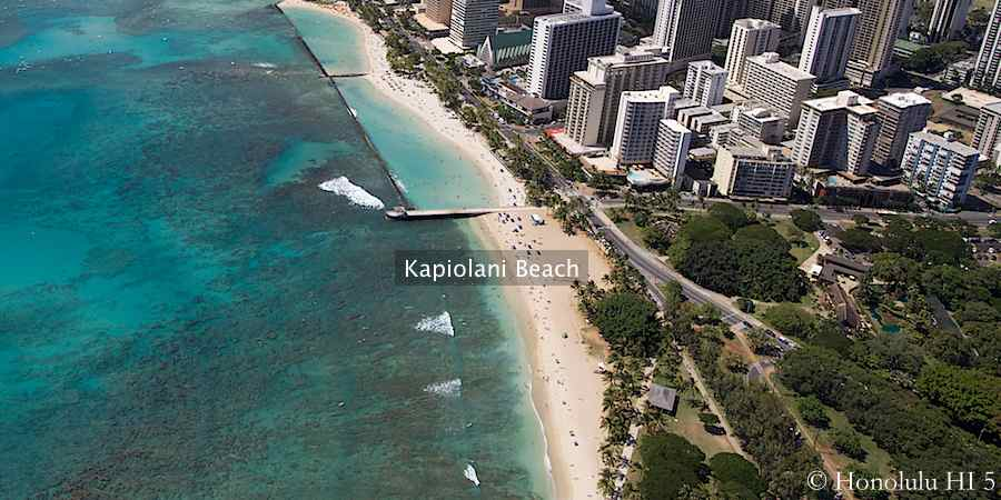 Aerial photo of Kapiolani Beach