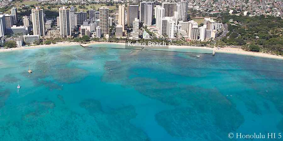 Aerial photo of Kuhio Beach