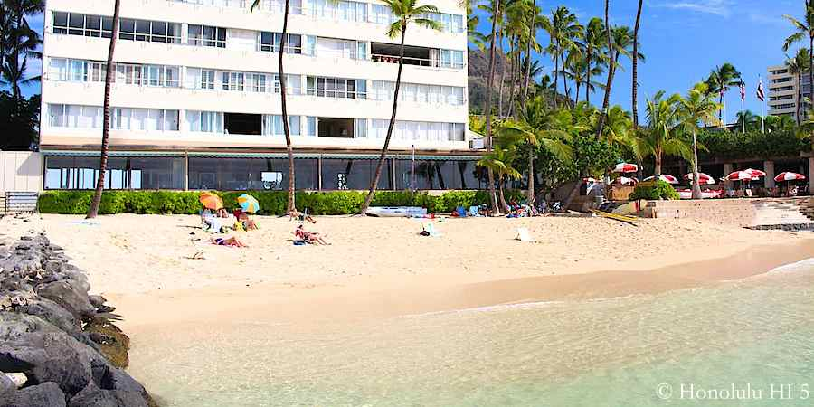 Outrigger Canoe Club Beach with Colony Surf condo in the background