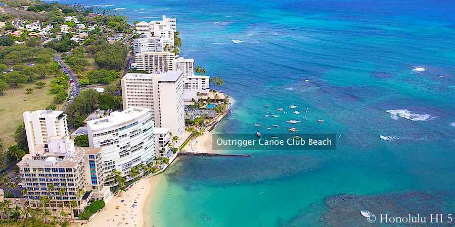 Aerial photo of Outrigger Canoe Club Beach