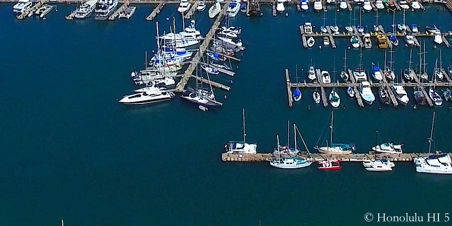 Boats in Honolulu Harbor - Aerial Photo