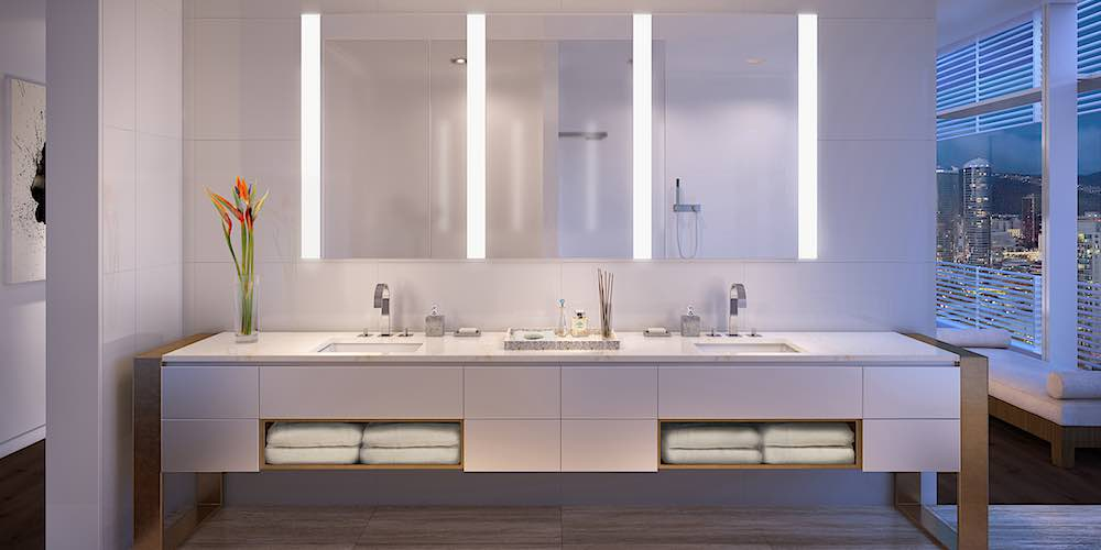 Cylinder at Gateway Towers Duplex Master Bathroom Vanity