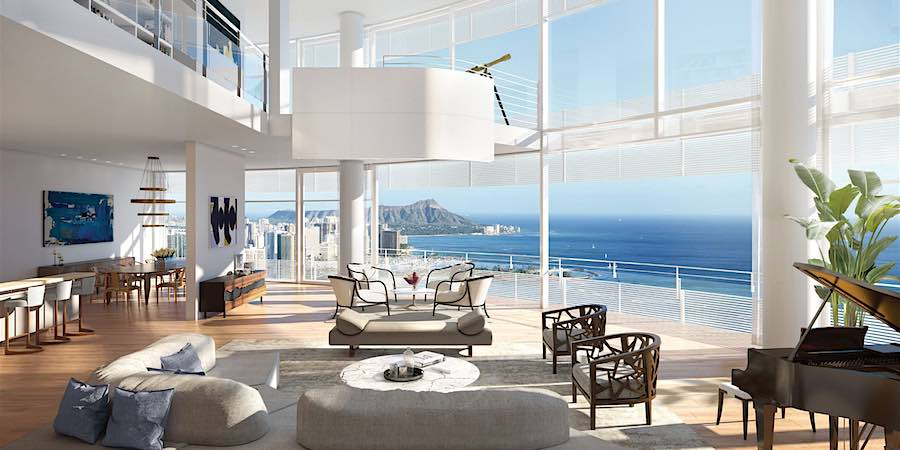 Cylinder at Gateway Towers Duplex Grand Penthouse Living Room