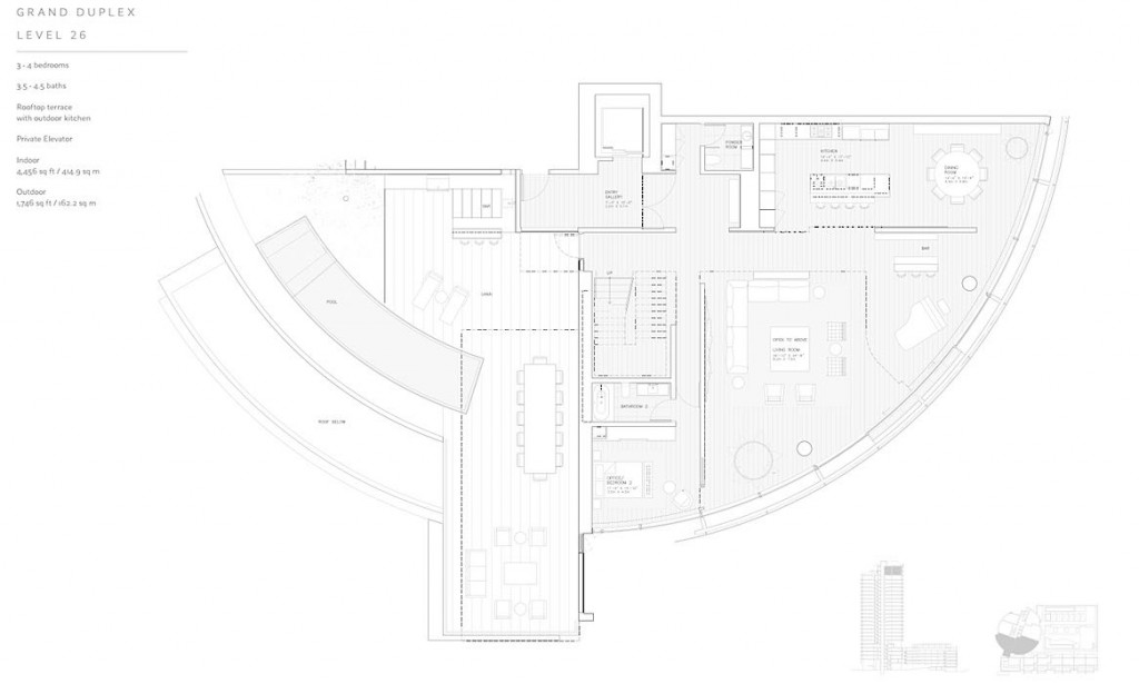 Cylinder at Gateway Towers Duplex Grand Penthouse Level 26 Floor Plan