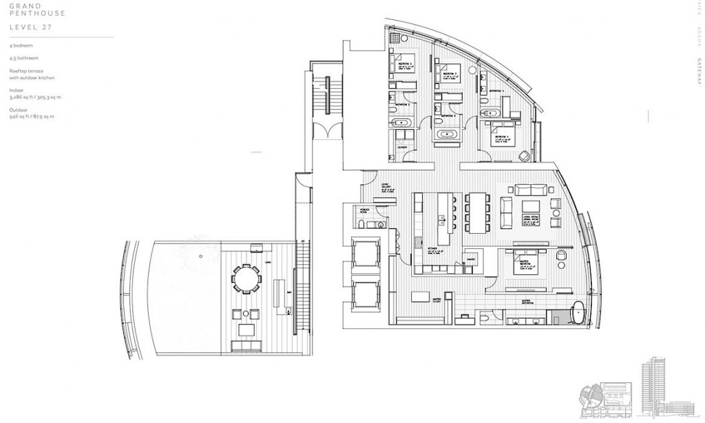 Cylinder at Gateway Towers Grand Penthouse Level 27 Floor Plan