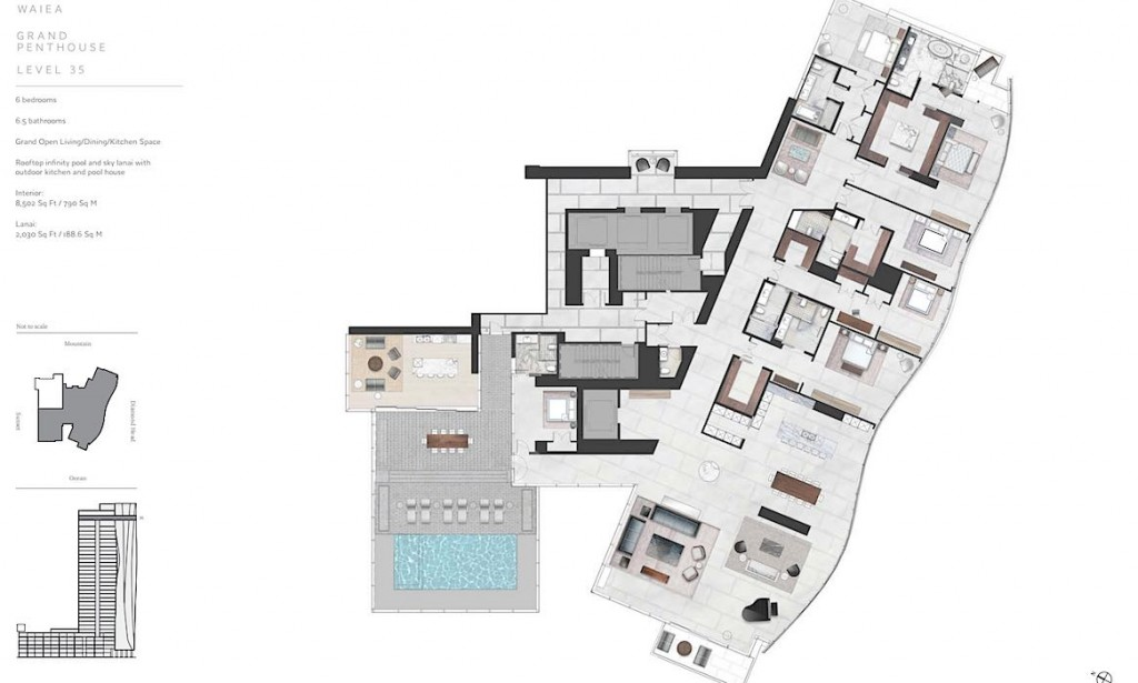 Waiea Level 35 Grand Penthouse Floor Plan