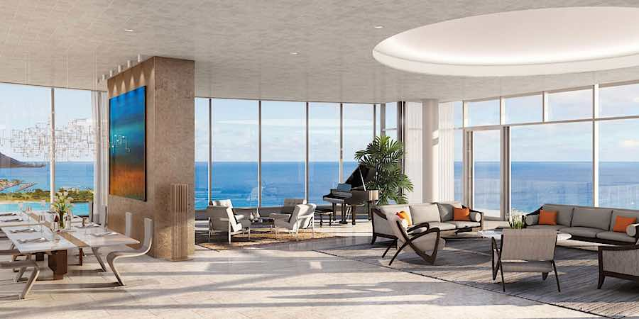 Waiea Grand Penthouse Living & Dining Rendering