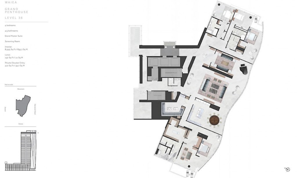 Waiea 36th Floor Grand Penthouse Floor Plan